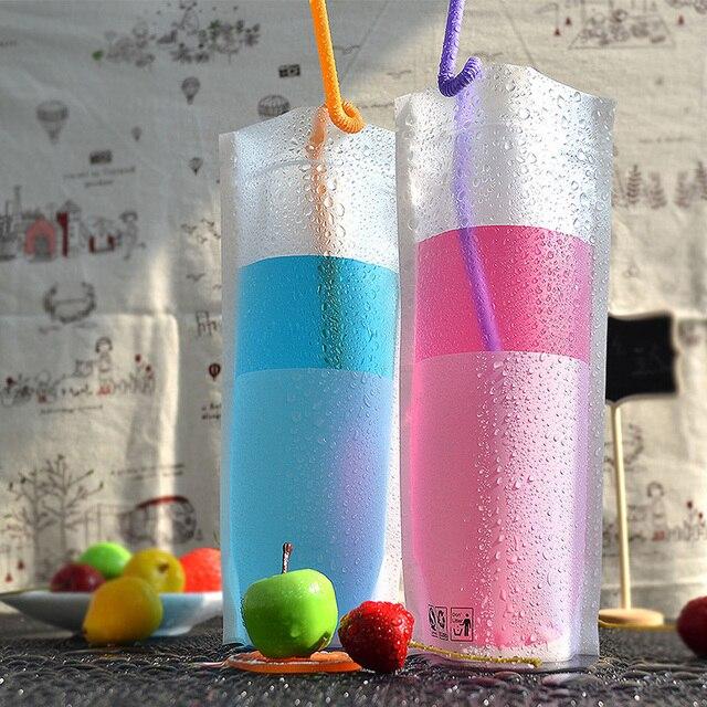 White transparency packaging bags Fruit juice beverage zip plastic bag Stand up bottom Milk Tea Leak proof storag 100pcs 12*24+4