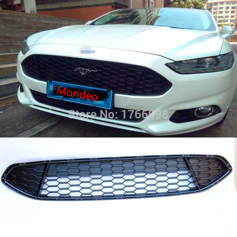 Mustang LOGO ABS Chrome Car front bumper Mesh Grille Around Trim Racing Grills Fit For Ford Mondeo 2013 2014 2015 quality stainless steel car front bumper mesh grille around trim racing grills 2012 2015 for ford ecosport