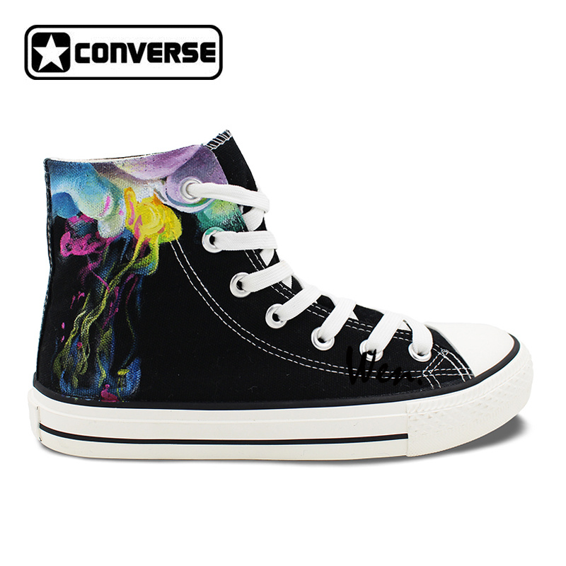 5edba588341c Original Design Hand Painted Shoes Colorful Smoke High Top Converse All Star  Canvas Sneakers Men Women Unique Birthday Gifts-in Skateboarding from  Sports ...