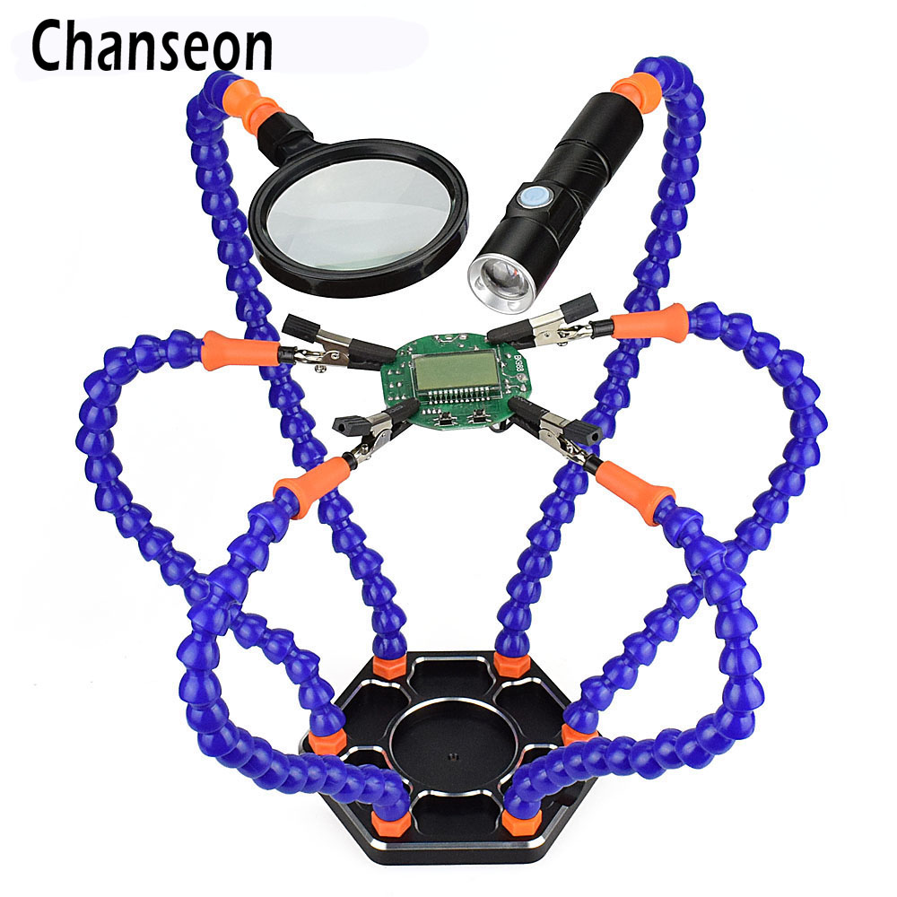 Chanseon Third Hand Multi Soldering Helping Hands Tool With 6pcs Flexible Arms For PCB Board Soldering Assembly Repair Station
