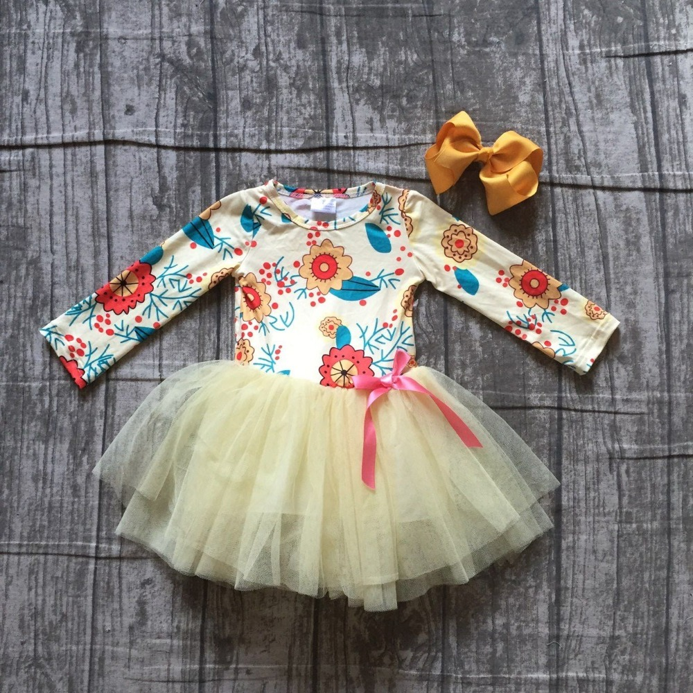 new arrivals fall baby girls kids boutique clothes floral ivory lace sleeveless bow cotton princess dress ball gown match bow kids floral print bow asymmetric dress