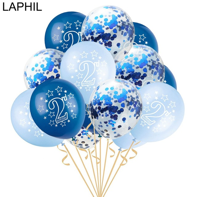 LAPHIL 15pcs 2nd Birthday Blue Pink Confetti Balloons Boy Girl I AM TWO Happy 2 Years Party Decorations Kids Favors