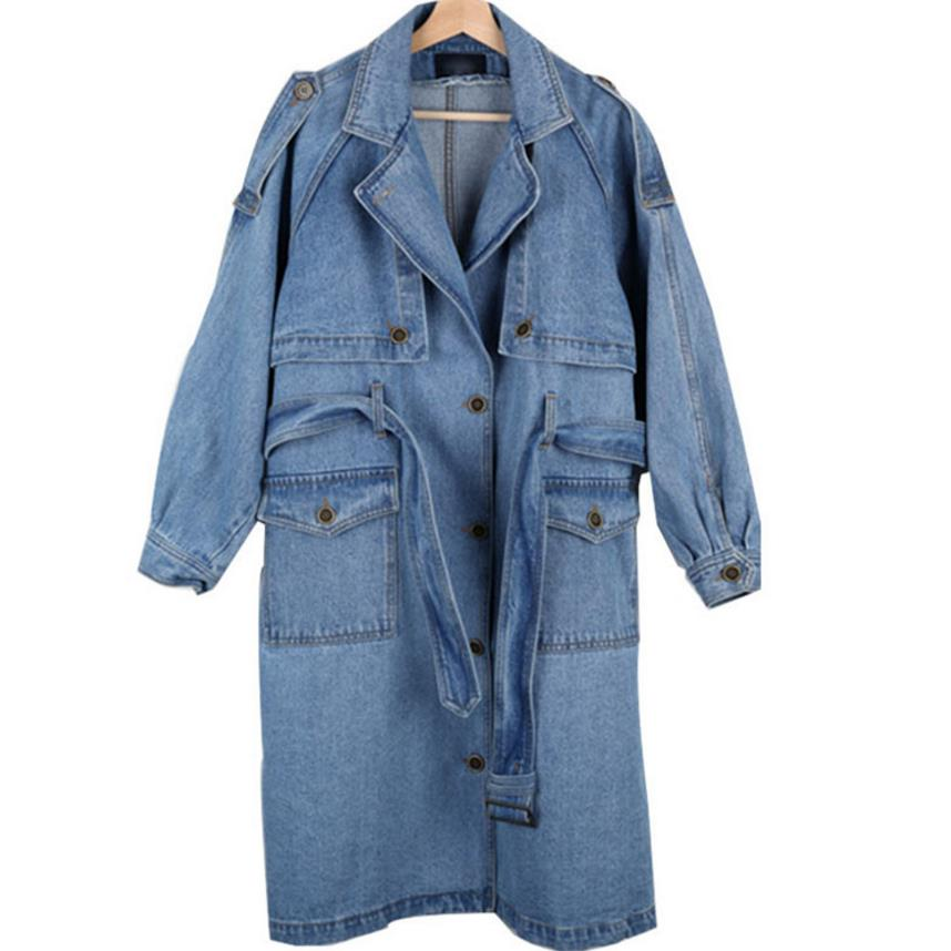 New Arrival Trench Coat Women Loose denim trench coat female long single-breasted Outwears