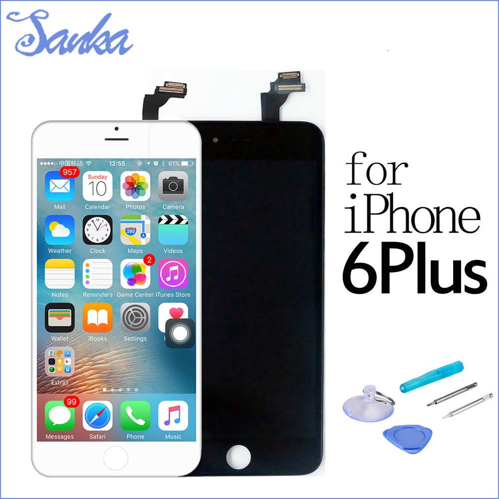SANKA 10PCS LCD For iPhone 6 PLUS LCD Display Digitizer Touch Screen Assembly Mobile Phone Parts Replacement LCD White Black