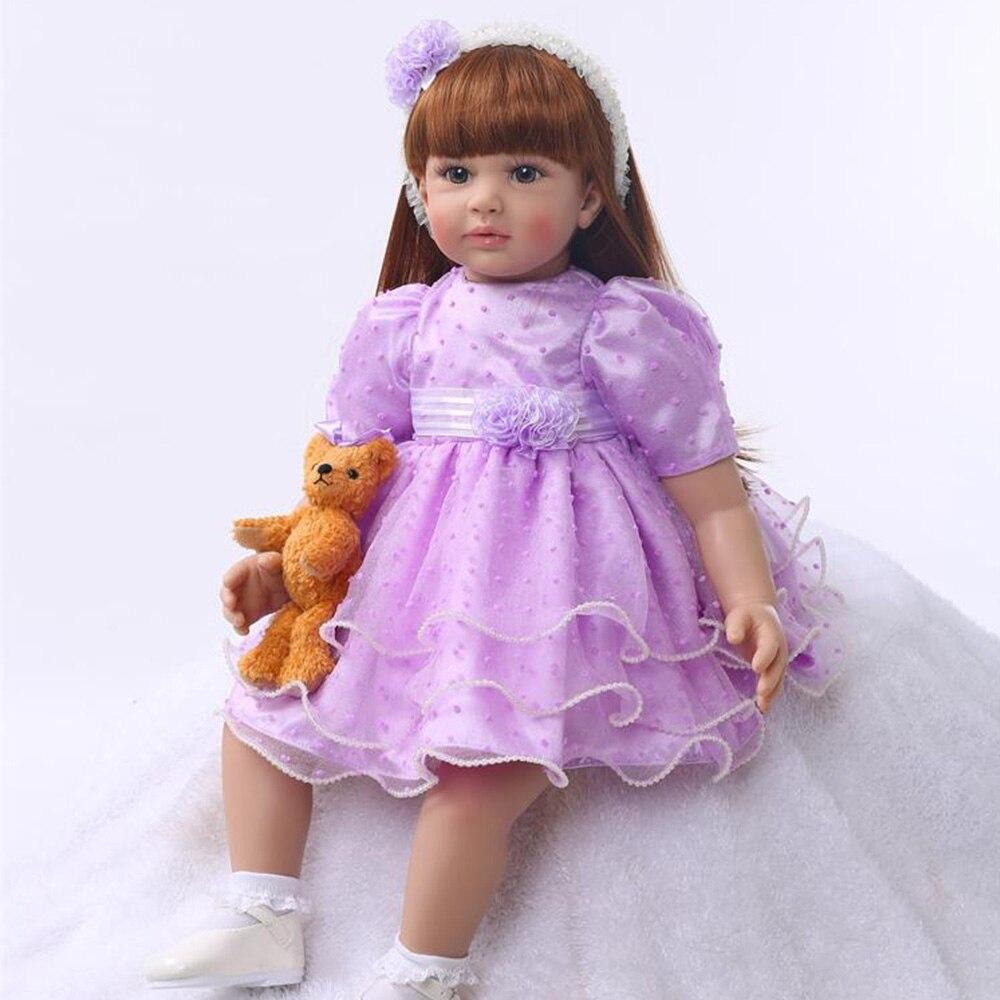 Réel bébé reborn silicone poupées 60 cm doux coton corps reborn bébé vivant poupées jouets pour fille enfants cadeau princesse bambin bonecas