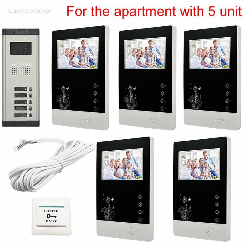 bilder für 5 Wohnungen Stabile Qualität Video Türtüröffnung Intercom System Ccd-kamera 4,3 zoll Innen-monitor-system Einheit Kostenloser versand