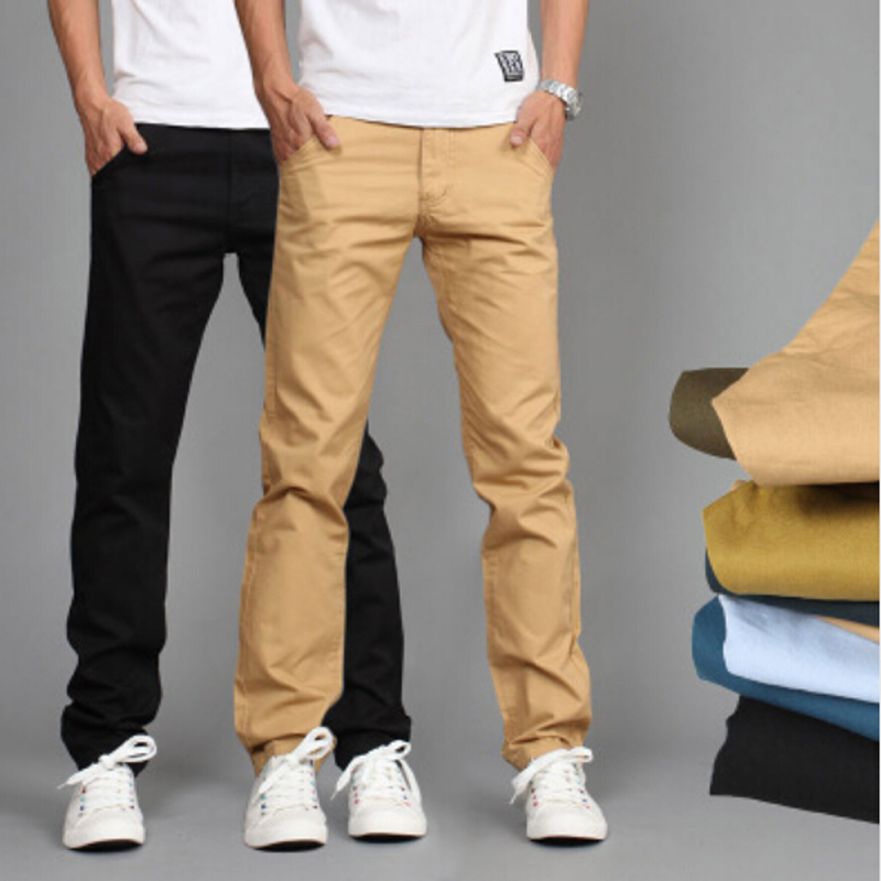 Men Pants Trousers Khaki Straight Cotton Casual Fashion Business Slim Solid Black New-Design