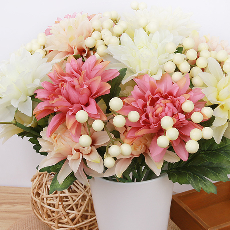 ᐅdiy Large Silk Flower Bouquet Roses Dahlias Artificial Flowers ...