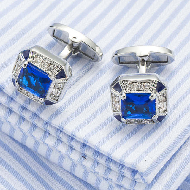 Vagula Ship Blue Cufflinks Brooch Pin 3pcs Cuff Links Collar Jewelry 733