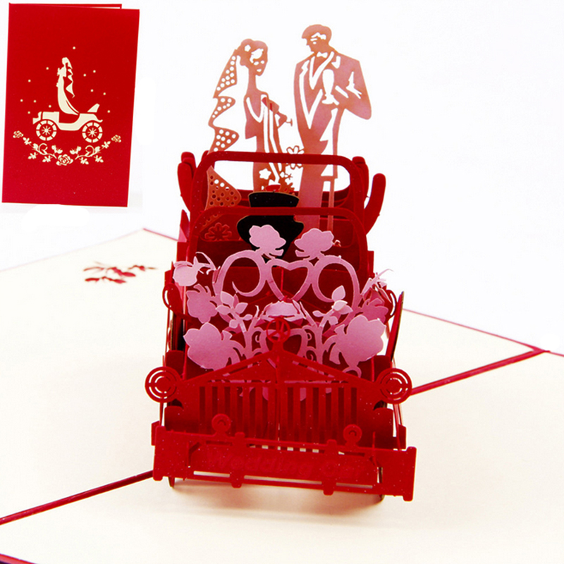 3D Pop Up Vintage Car Greeting Card Wedding Valentine