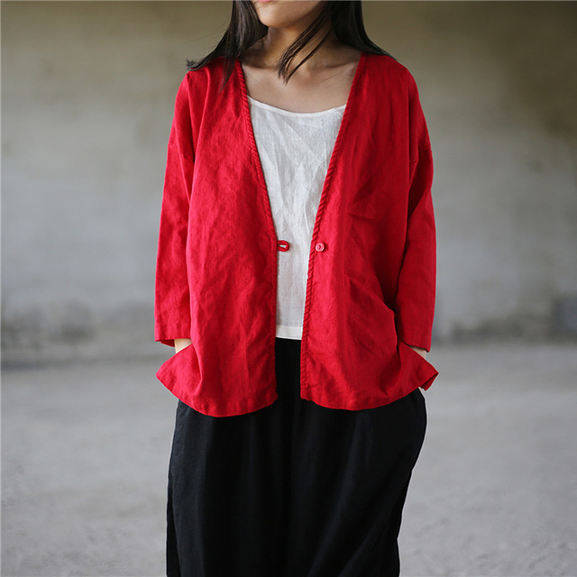 ff3b549d6f7576 ORIGOODS Solid Red White Black Kimono Blouse Women Linen V-neck Summer Blouse  Shirt Women