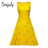 Sisjuly 1950s Women Vintage Dress Summer Yellow Floral Print Sleeveless A Line Party Dress Elegant Beauty