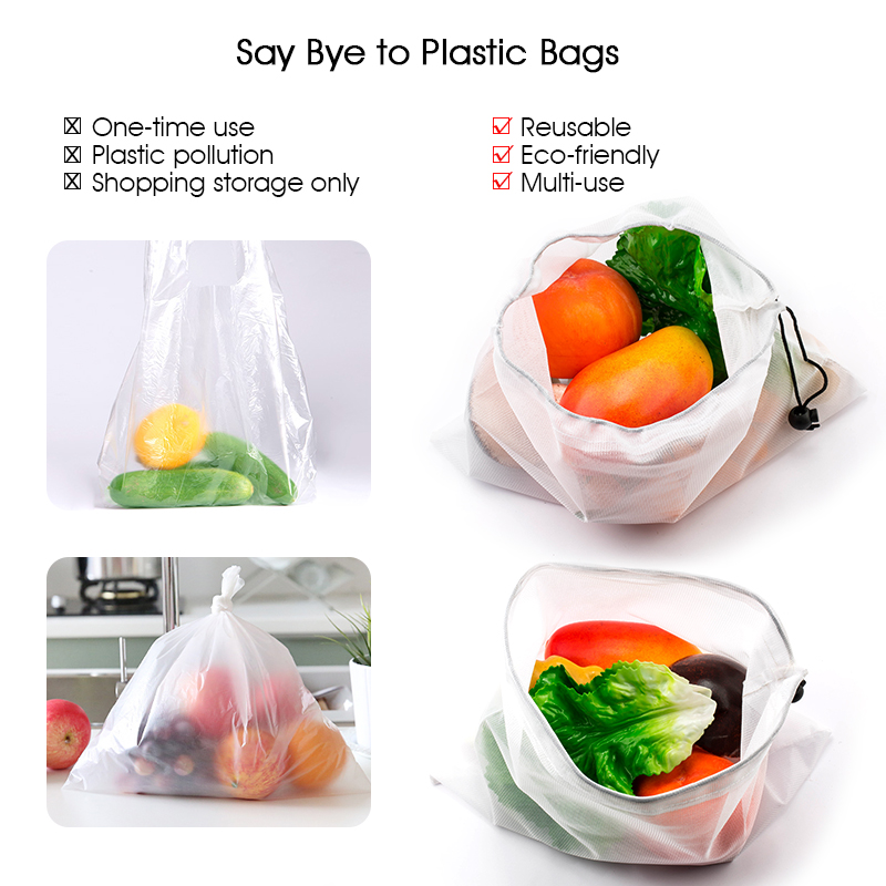 15Pcs Reusable Mesh Produce Strong Bags Grocery Fruit Vegetable Storage Shopping