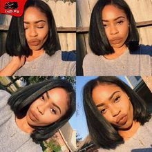 Brazilian Bob Full Lace Wigs Human Hair Yaki Straight Lace Front Bob Wig Short Bob Lace Wig With Baby Hair For Black Women
