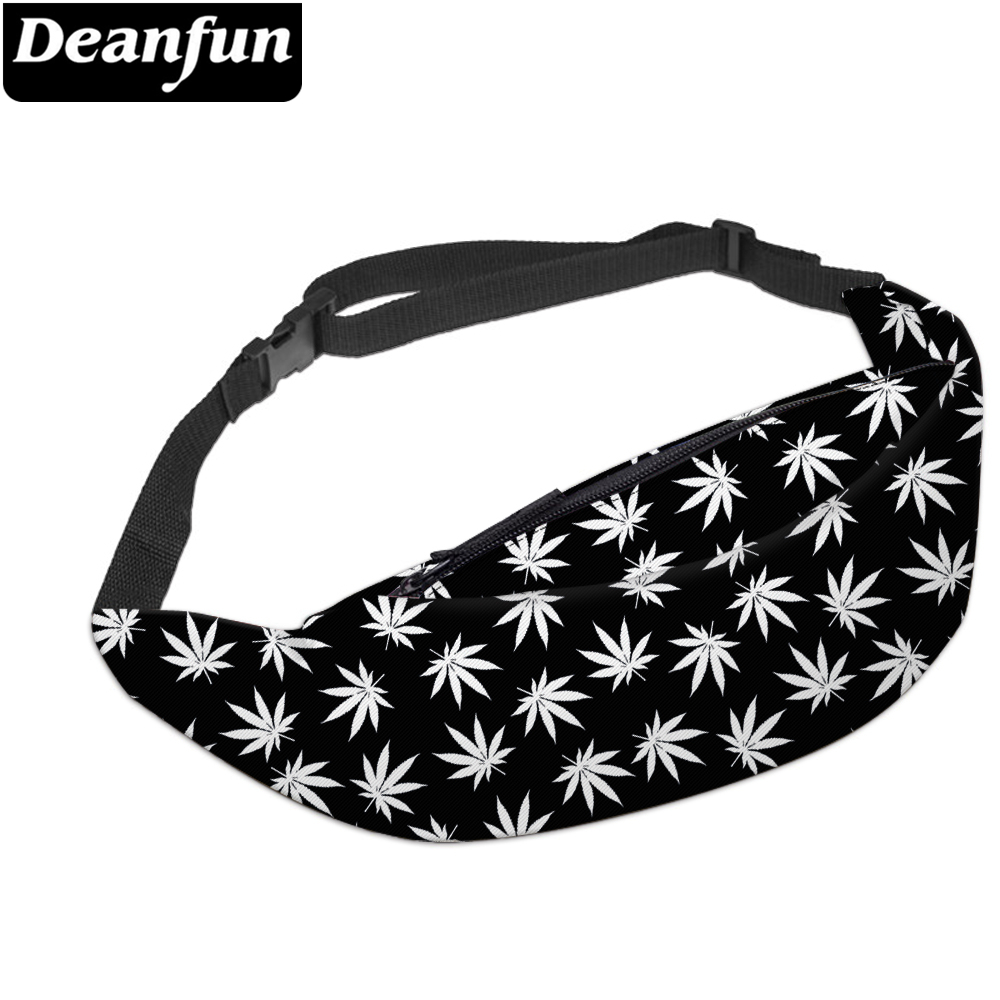 Deanfun 3D Printed Waist Bags Black Fanny Pack With Zipper For Women Travelling YB6
