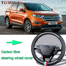 38CM Size M Rubber Carbon Fiber Leather Car Steering Wheel Cover Non-slip breathable For Ford Edge