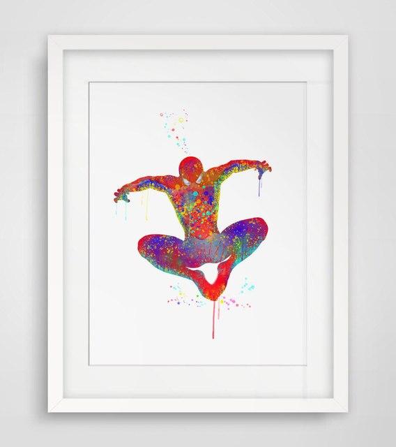 spiderman art print original watercolor spider man poster the avengers wall art wall hanging. Black Bedroom Furniture Sets. Home Design Ideas