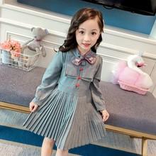Autumn Casual Baby Girls Long Sleeve Striped Print Pleated Dress Skirts Kids Toddler Princess Sundress все цены