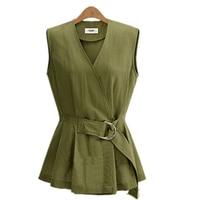 S XXL Plus Size Vest With Belt 2015 New Spring European Women Vests Slim Waist Waistcoat