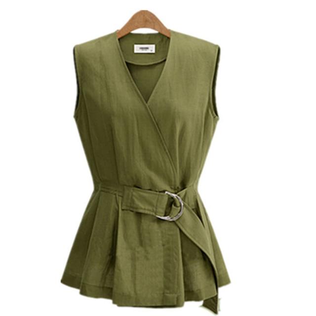 S/XXL Plus Size Vest With Belt 2017 New Spring European Women Vests Slim Waist Waistcoat Breathable Gilet Colete Feminino JY-168