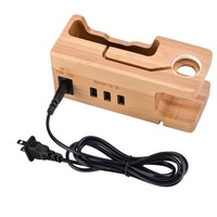 Mobile Phone Charging Display Stand Holder Bamboo Wood Phone Charger 3 Usb Port Desktop Bracket Charge