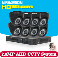 8CH AHD CCTV System HD 1080P 2 0MP CCTV Security Camera 8pcs Outdoor Bullet Day Night