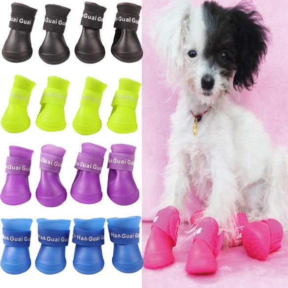 4pcs Pet Dog Shoes Waterproof Rain Pet Shoes For Dog Puppy Rubber Boots Candy Color Puppy Shoes Pet Products