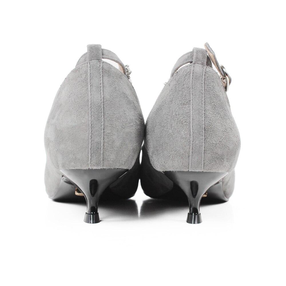 Pumpen Schuhe Neue Gray Sommer Vikeduo Sapatos 4cm Damen Spitz Schaffell Mode Grau Büro Frauen Hohe Echtem Hochzeit Ferse 2019 q7wgxw1