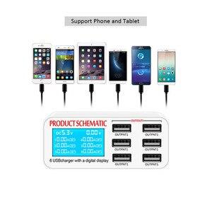 Image 2 - Di động sạc thông minh trạm 6 cổng sạc USB phẳng sạc du lịch LCD hiển thị kỹ thuật số di động dữ liệu thiết bị đầu cuối USB công cụ sạc