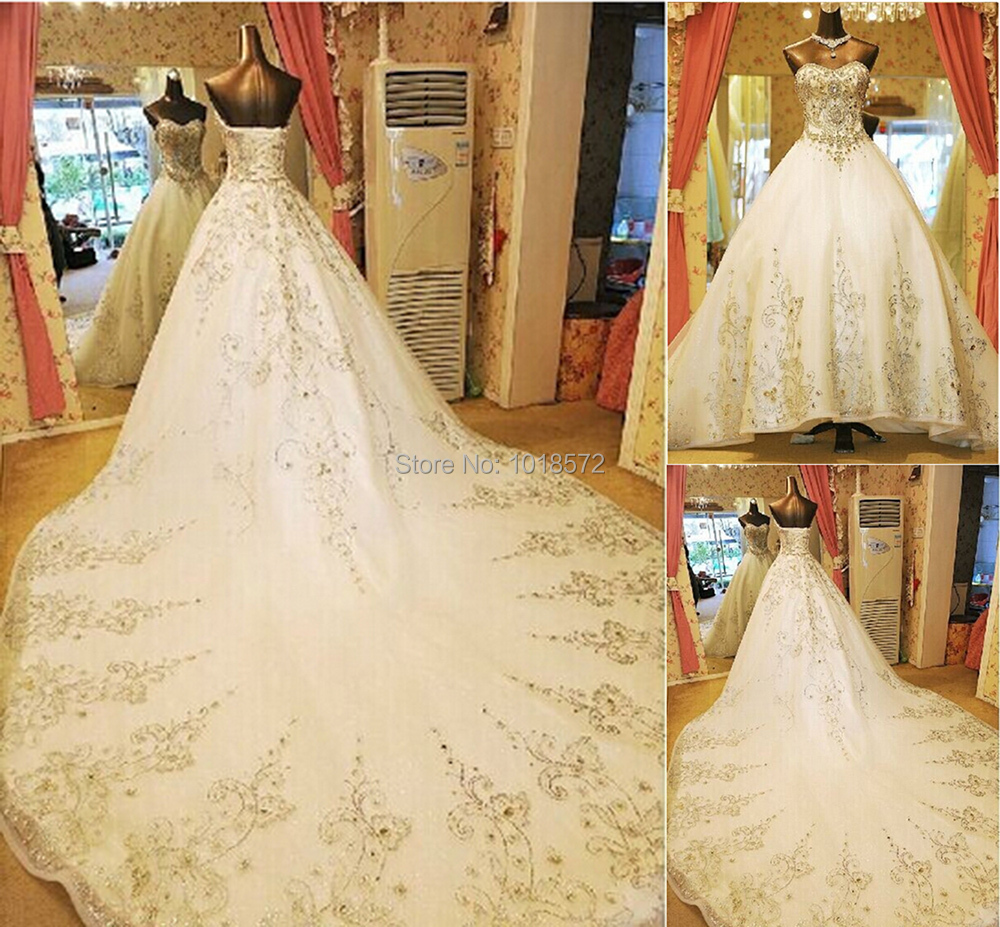 2017 gorgeous luxury wedding dresses with rhinestone for Wedding dress long train