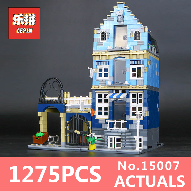1275Pcs Lepin 15007 Building Bricks Blocks European Market Mini Street Set Compatible Creator Children Toys Educational 10190 a toy a dream lepin 15008 2462pcs city street creator green grocer model building kits blocks bricks compatible 10185