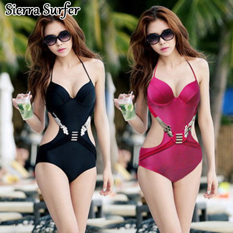 One Piece Swimwear Plus Size Women Bathing Clothes 1 Swimsuit Woman Suit Sexy 2018 Backless Triangle Hollow Underwire Push Up