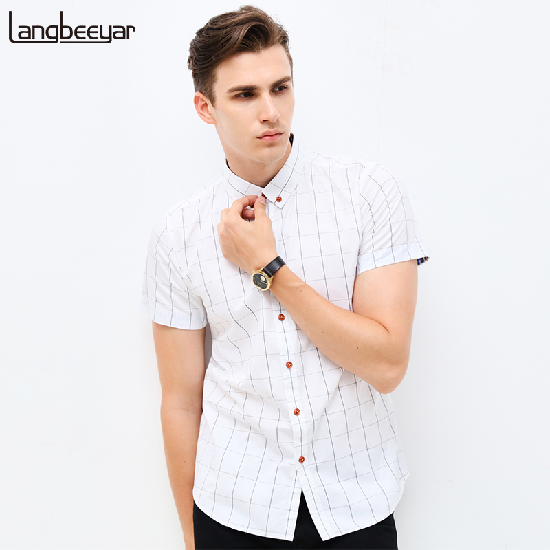 Fashion brand clothing mens short sleeve shirt 2017 summer for Fitted short sleeve dress shirts for men
