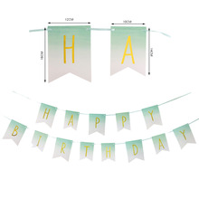 Gold Foil Ombre Mint Green Happy Birthday Banner Swallowtail Paper Bunting Garland Photo Props Kids Party Decorations