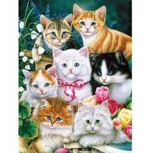 Moge diamond painting cats flower birds embroidery christmas cat group in winter Mosaic female set