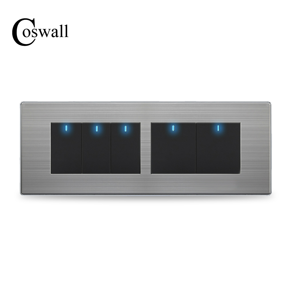 COSWALL 5 Gang 2 Way Luxury Light Switch Push Button Wall Interruptor With LED Indicator Stainless Steel Panel 197* 72mm mini interruptor switch button mkydt1 1p 3m power push button switch foot control switch push button switch