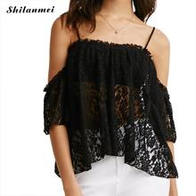 2017 New Stylish Ladies Women Black Casual Transparent Camis Spaghetti Strap Backless Lace Floral Patchwork Crop Tops