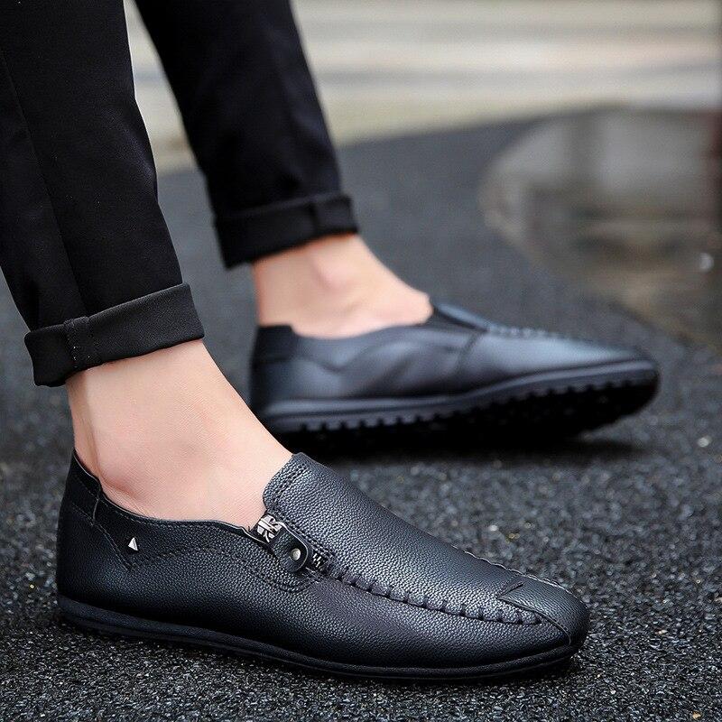 Men Shoes Footwear-Sneakers Zipper-Loafers Mocassin Comfortable Casual Summer Black Solid