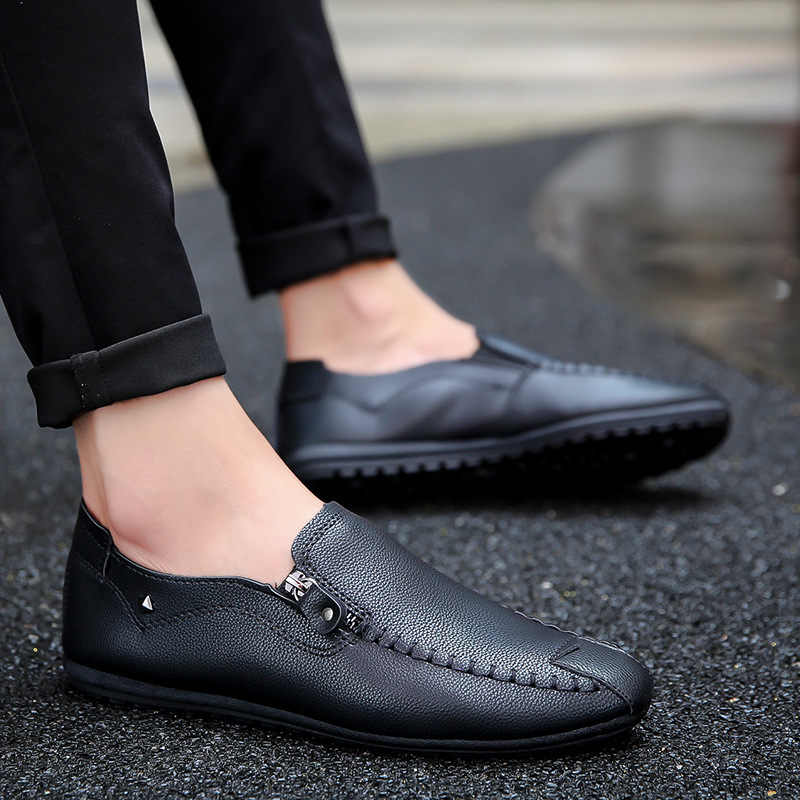 ฤดูร้อนผู้ชายรองเท้าบุรุษสบายๆสีดำแบนรองเท้าซิป Loafers รองเท้าหนังรองเท้าผ้าใบ Mocassin Homme