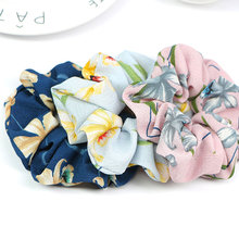 New spring and summer flowers hairband Flower Scrunchie Ponytail holder Elastic Hair Ties Turban rope Girl hair Accessories