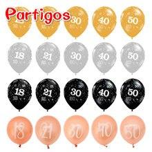 Ballons gonflables en Latex, 10 pièces, or Rose, 18e 21e 30e 40e 50e anniversaire, décorations de mariage, fournitures de fête d'anniversaire