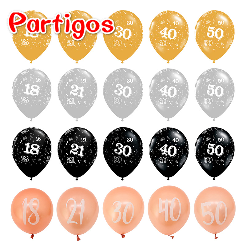 Rose Gold <font><b>18th</b></font> 21th 30th 40th 50th <font><b>Birthday</b></font> Latex Balloon Inflatable Wedding <font><b>Decorations</b></font> Air Ball <font><b>Birthday</b></font> Party Supplies image
