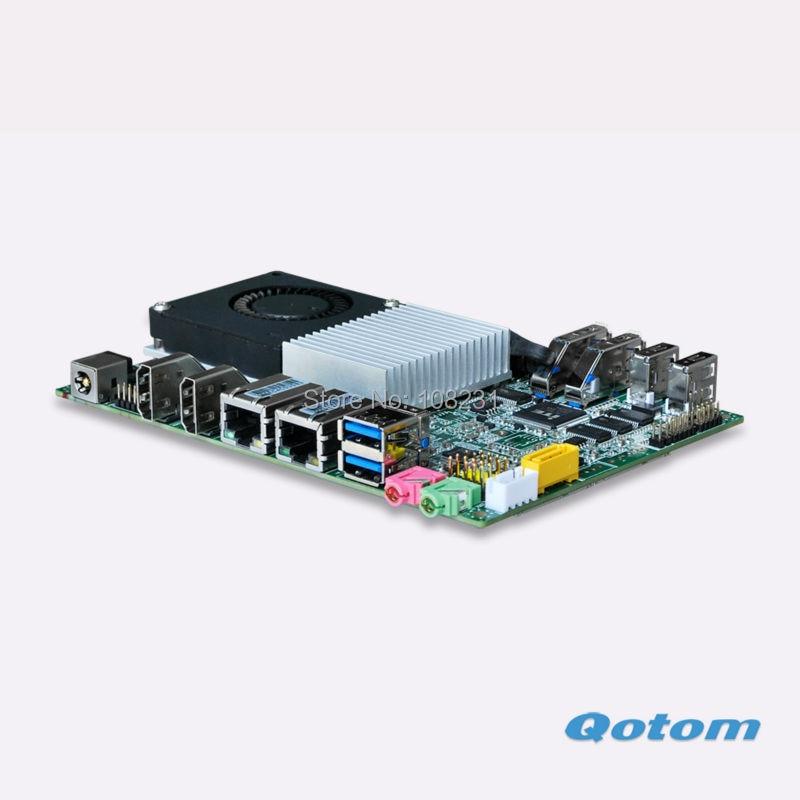 QOTOM Mini ITX Motherboard with Broadwell CPU onboard, three display port, 6 USB, 2 LAN port, 3.5 inch motherboard m945m2 945gm 479 motherboard 4com serial board cm1 2 g mini itx industrial motherboard 100