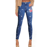 Jeanse Donkerblauw vrouwen Gloednieuwe Hoge Straat Blauw Hoge taille Skinny Denim Broek Jeans voor Borduurwerk Patroon Sexy Vrouwen Jeans