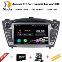 Czysty Android 7.1 quad core 2 din samochód dvd gps radio stereo 2 din dvd dla Hyundai Tucson iX35 2009 2010 2011 2012 2013 2014 2015