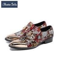 Christia Bella Роскошные модные с цветочным принтом Мужские туфли из натуральной кожи золото Баллок резные Мужские модельные туфли свадебные офи
