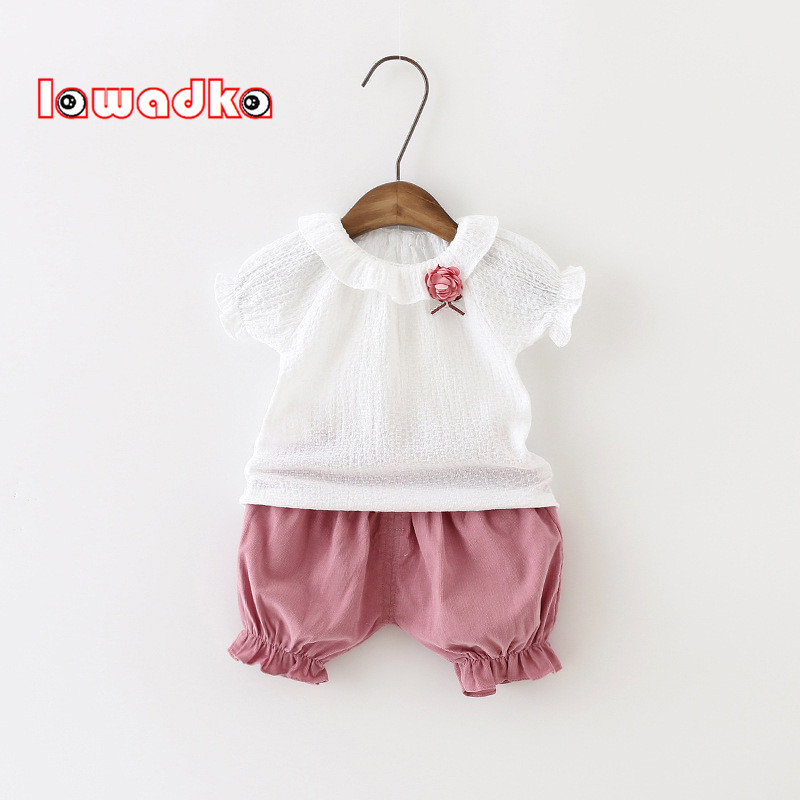 Baby Girls Clothing Set Children White Short + Pants Set Kids Clothes Casual Suits  Summer Style 4th of july baby girls clothing set summer girls tees ruffle short girls outfit american usa flag baby clothes 2pcs kids clothes