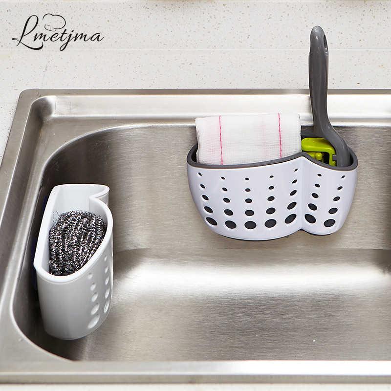 LMETJMA mutfak süngeri tutucu ile bir sünger vantuz banyo enayi tutucu lavabo sabun sünger drenaj raf depolama tutucu KC0001