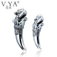 V. YA Marke Reine Handarbeit Thai Silber Schmuck Retro Linie Sterling silber Wolf Anhänger für Männer Paar Anhänger & charme für liebhaber