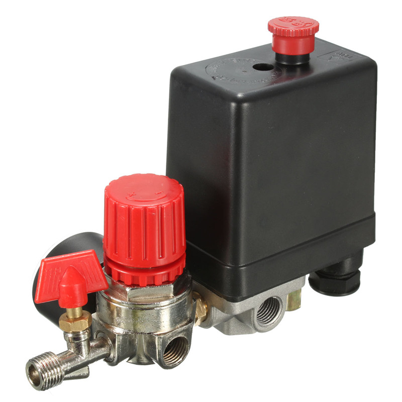 Image 2 - 240V AC Regulator Heavy Duty Air Compressor Pump Pressure Control Switch 4 Port Air Pump Control Valve 7.25 125 PSI with Gauge-in Pneumatic Parts from Home Improvement